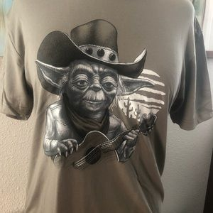 Tshirt w Willy Yoda like image whimsical and funny